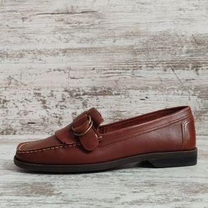 ⚁8 Wide Naturalizer Brown Leather Fringe Loafer